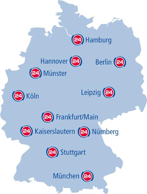 Eine Deutschlandkarte mit den Standorten des Unternehmens
