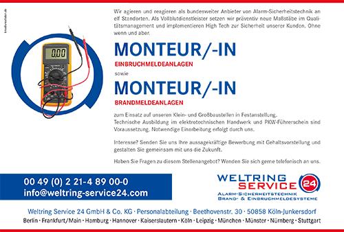 Stellenbeschreibung Monteur-/in