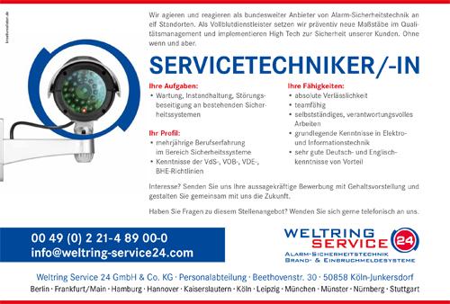 Stellenbeschreibung Servicetechniker/in